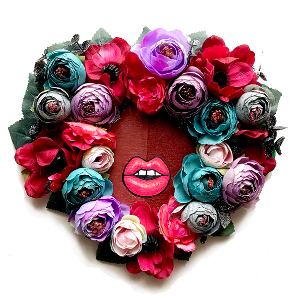 Floral Fro Heart Wreath #1