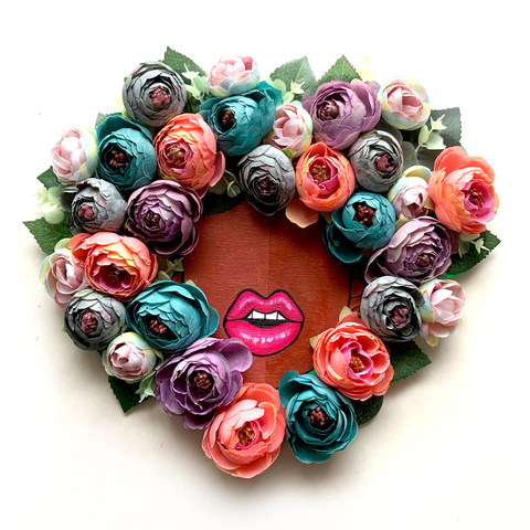 Floral Fro Heart Wreath #2