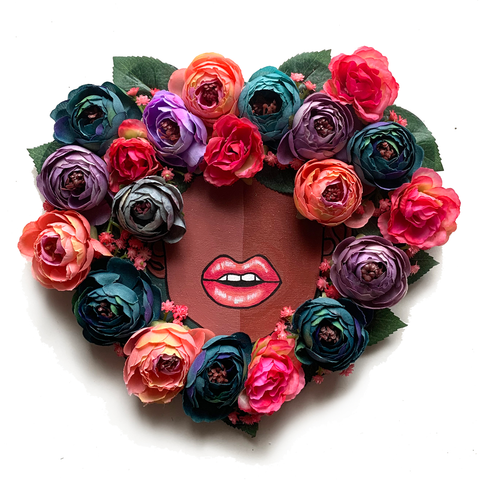 Floral Fro Heart Wreath #3