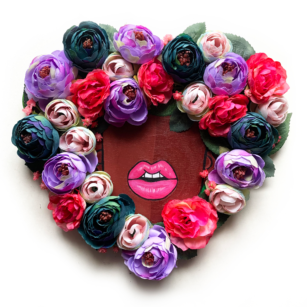 Floral Fro Heart Wreath #4