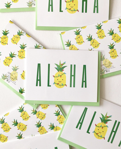 Aloha Pineapple Xmas Lights Notecard