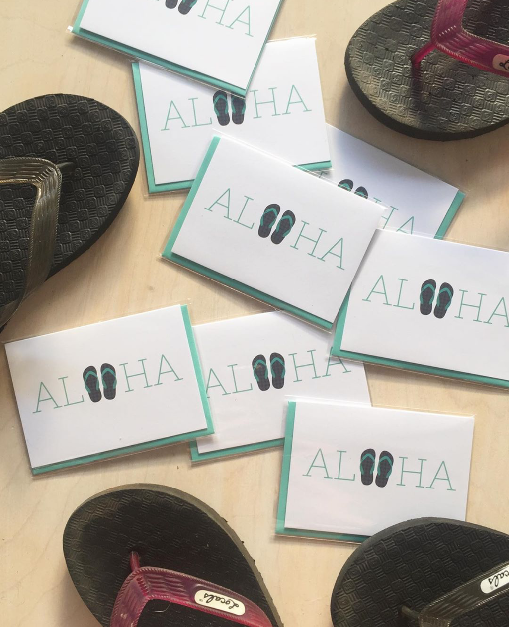 Aloha Slippers Notecard