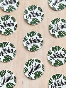 Aloha Monstera Circle Sticker