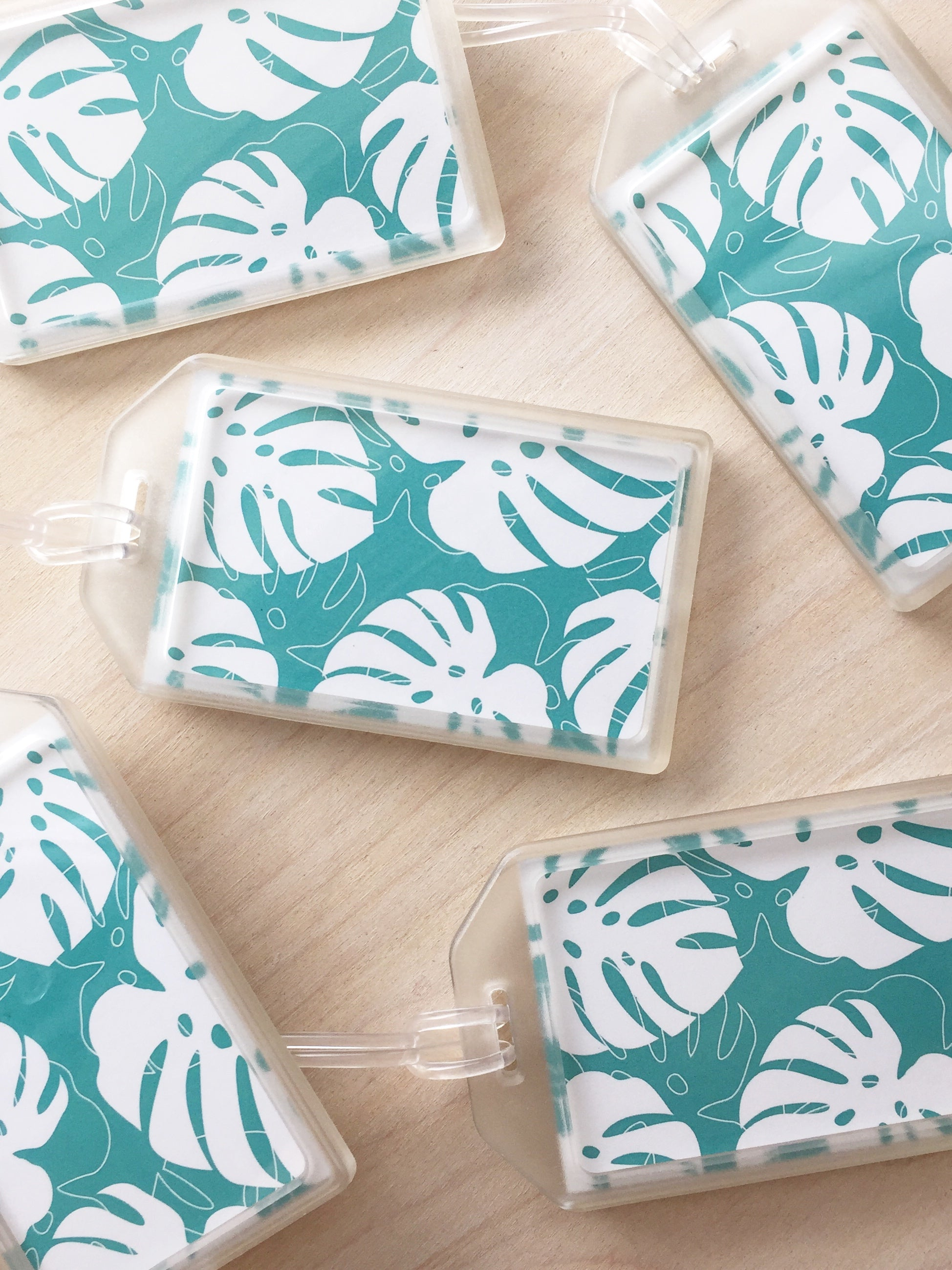 Blue Monstera Luggage Tag