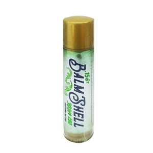 Balmshell lip balm does more that just moisturize your lips. Broad spectrum hemp oil rejuvenates cells from the harsh effects of sun, wind, and dryness.  Don't leave home without your all natural Balmshell lip balm.      Contains: 30mg CBD and other cannabinoids/terpenes  0% THC  Ingredients:  Coconut Oil, Jojoba Oil, MCT Oil, Shea Butter, Beeswax, Broad Spectrum Hemp Oil,  Peppermint Oil              Directions:  Twist bottom of tube counter clockwise and gently apply to dry or chapped lips.