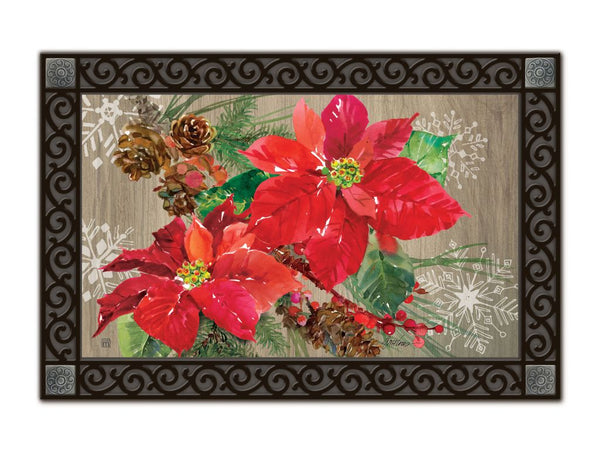 Poinsettia with Pine Cones MatMate