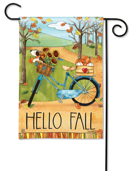 Autumn Bike Ride Garden Flag