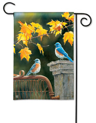 Bluebird Meeting Garden Flag