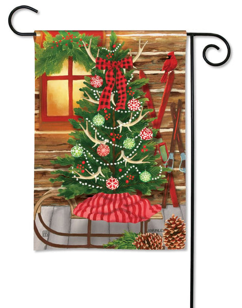 Christmas at the Cabin Garden Flag