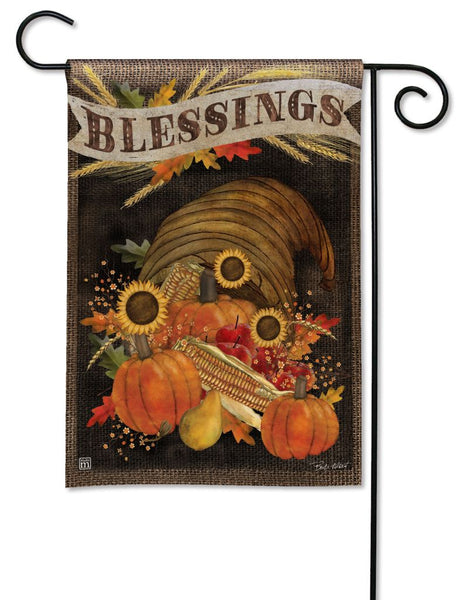 Cornucopia Blessings Garden Flag