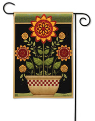 Primitive Sunflowers Garden Flag