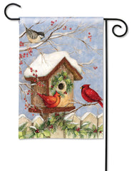 Christmas Birdhouse Garden Flag