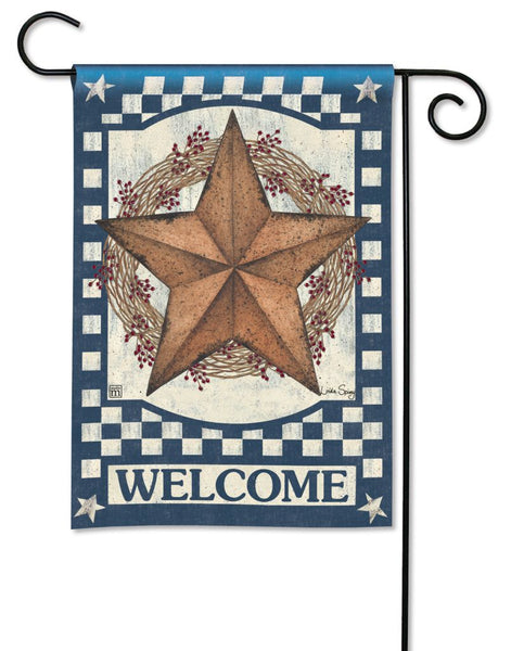 Blue Barn Star Garden Flag
