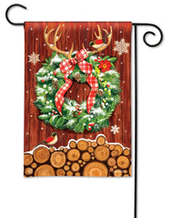 Cozy Cabin Wreath Garden Flag