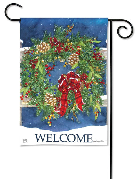 Winter Wreath Garden Flag
