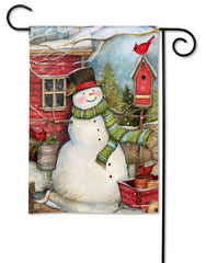 Red Barn Snowman Garden Flag