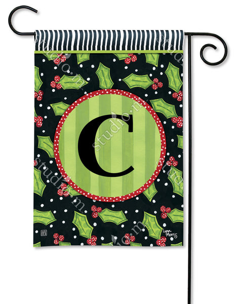 Holly Leaves Mono C Garden Flag