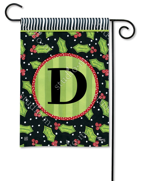 Holly Leaves Mono D Garden Flag