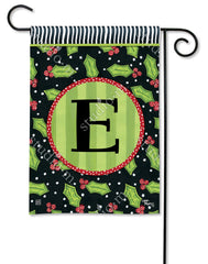 Holly Leaves Mono E Garden Flag