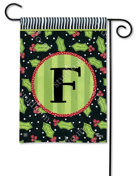 Holly Leaves Mono F Garden Flag