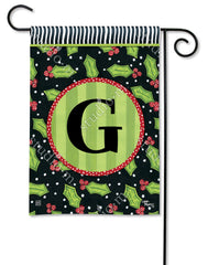 Holly Leaves Mono G Garden Flag