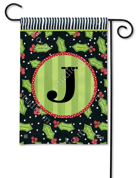 Holly Leaves Mono J Garden Flag