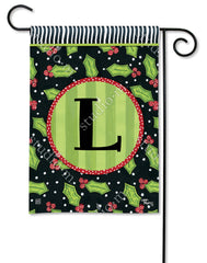 Holly Leaves Mono L Garden Flag