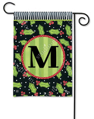 Holly Leaves Mono M Garden Flag