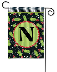 Holly Leaves Mono N Garden Flag