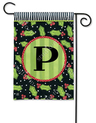 Holly Leaves Mono P Garden Flag
