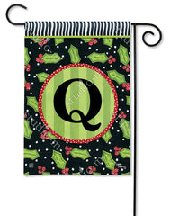 Holly Leaves Mono Q Garden Flag