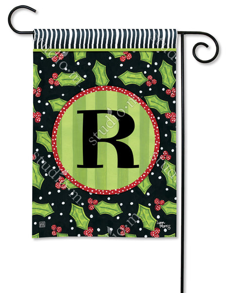 Holly Leaves Mono R Garden Flag