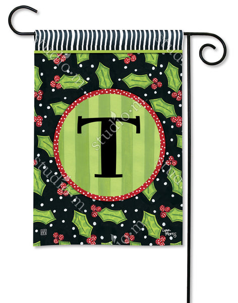 Holly Leaves Mono T Garden Flag