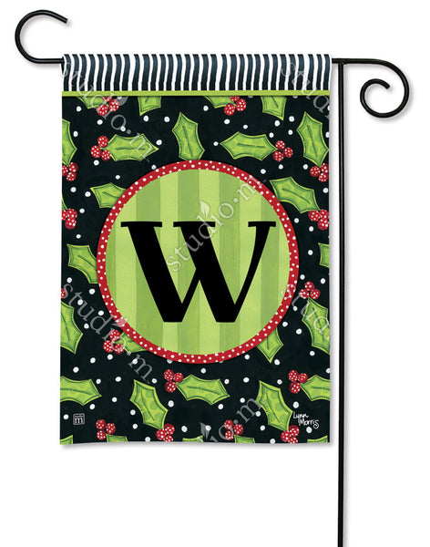 Holly Leaves Mono W Garden Flag