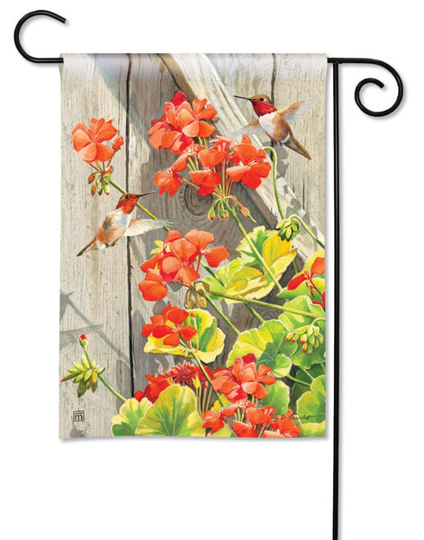 Hummingbirds with Geraniums Garden Flag