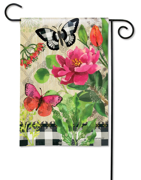Butterflies in Check Garden Flag
