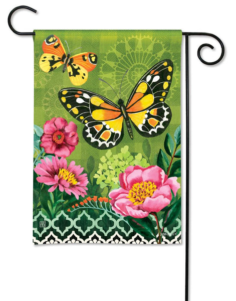Butterflies with Pink Flowers Garden Flag