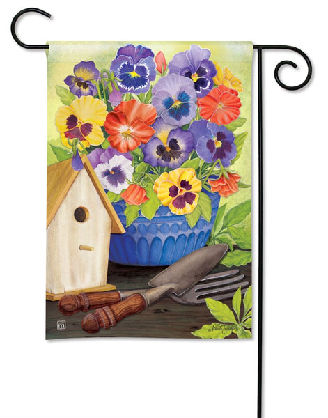 Pretty Pansy and Birdhouse Garden Flag