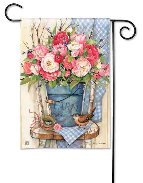 Bucket Full of Peonies Garden Flag