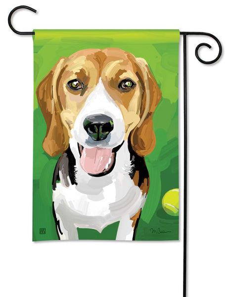 Beagle with Ball Garden Flag