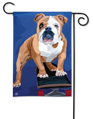 Bulldog with Skateboard Garden Flag