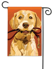 Yellow Lab with Leash Garden Flag