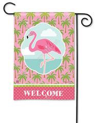 Coastal Flamingo Garden Flag