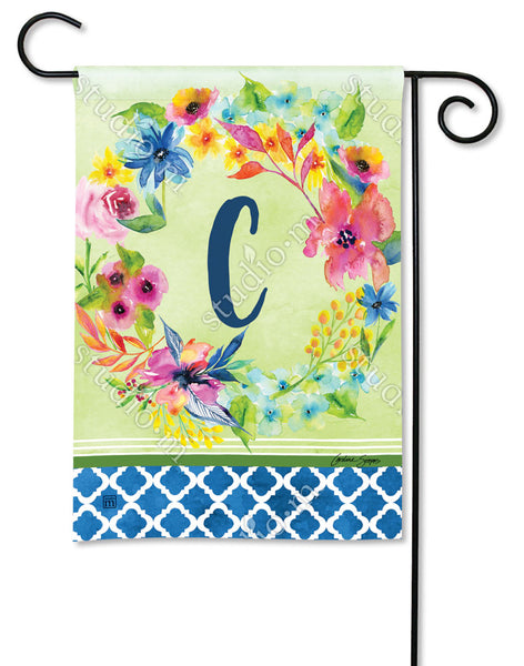 Fresh and Pretty Floral Monogram C Garden Flag