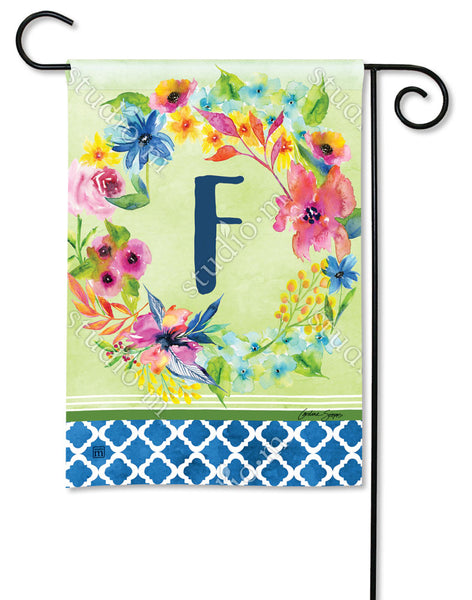 Fresh and Pretty Floral Monogram F Garden Flag