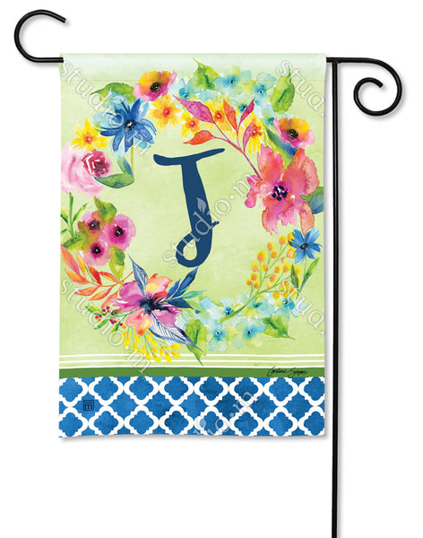 Fresh and Pretty Floral Monogram J Garden Flag
