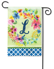 Fresh and Pretty Floral Monogram L Garden Flag