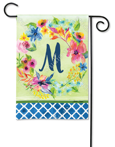 Fresh and Pretty Floral Monogram M Garden Flag