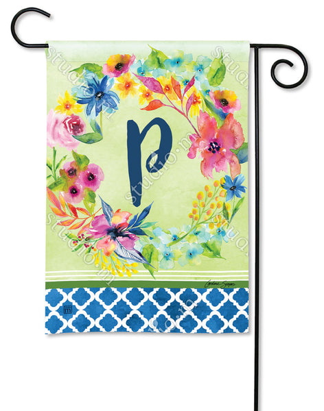 Fresh and Pretty Floral Monogram P Garden Flag