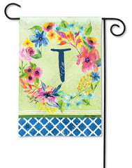 Fresh and Pretty Floral Monogram T Garden Flag